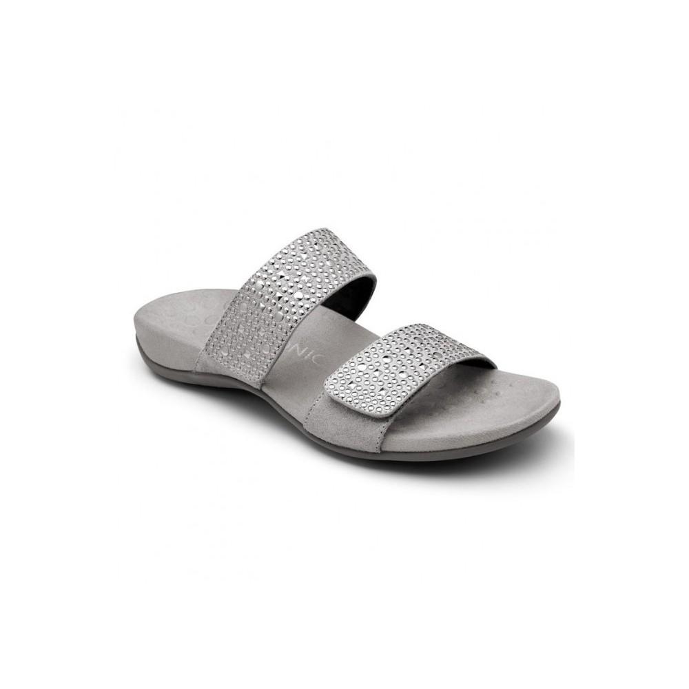 Samoa Slide Sandal - Pewter - Vionic Footwear